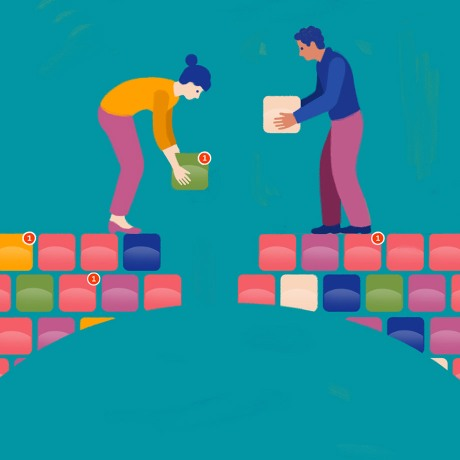 An illustration of two people building a bridge between them app by app.