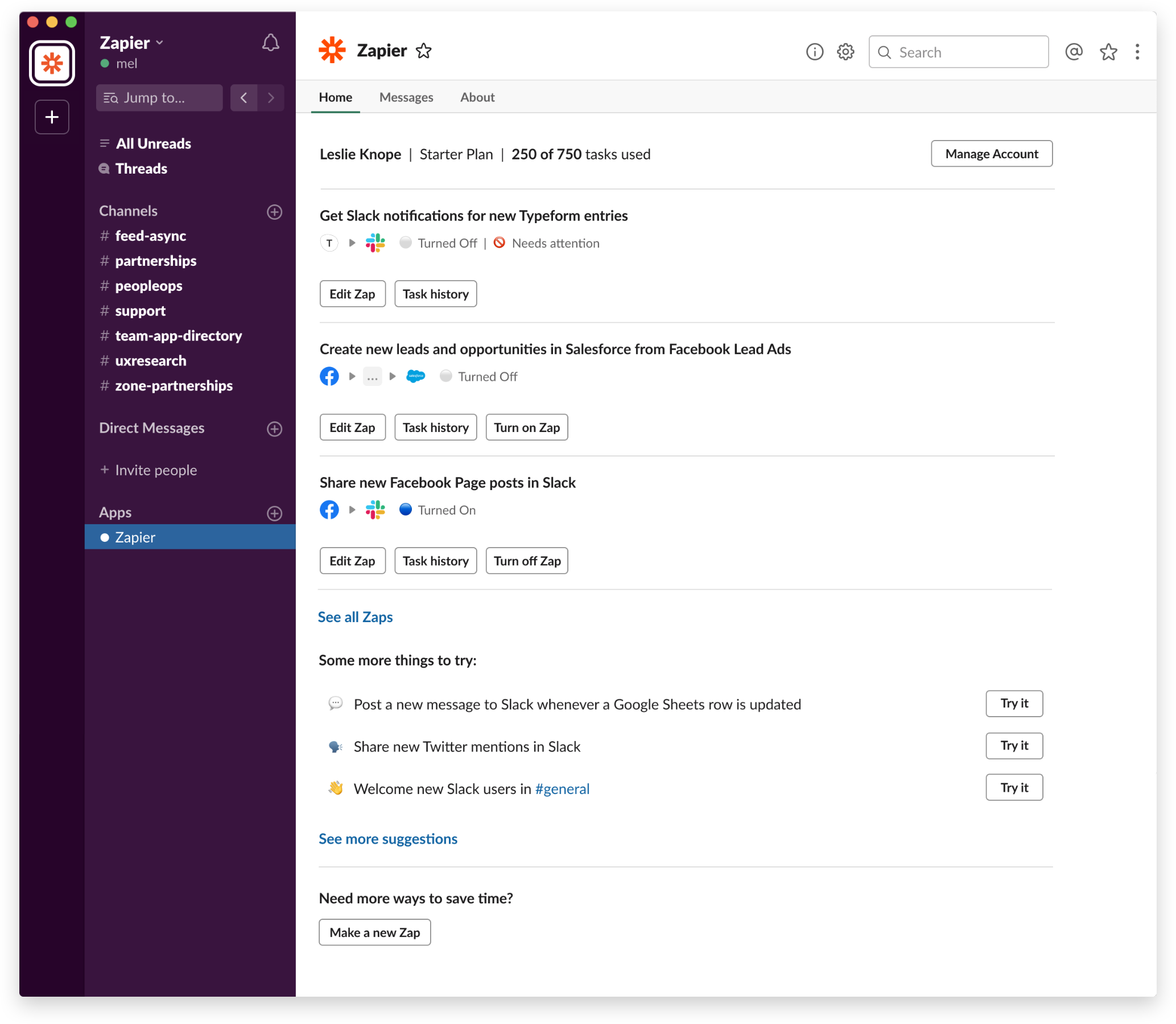 The app home tab for the Zapier app for Slack