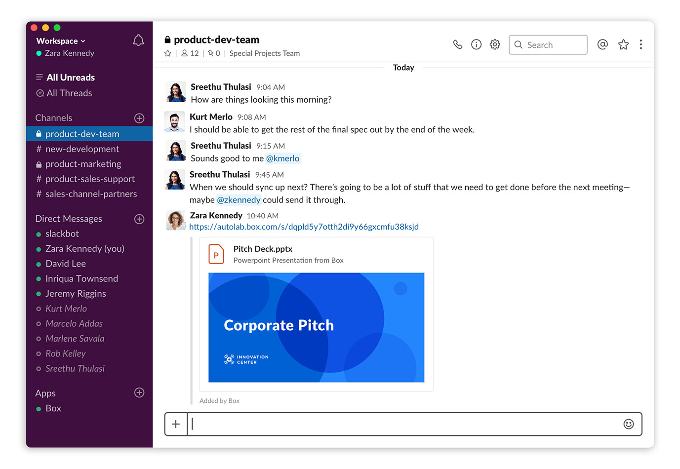 A screenshot showing how the new Box app for Slack works.