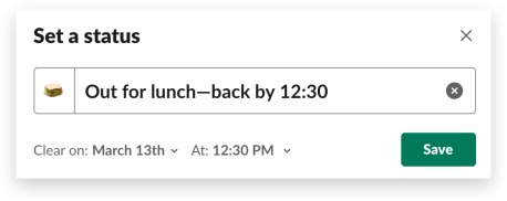 A user sets their custom Slack status while out for lunch