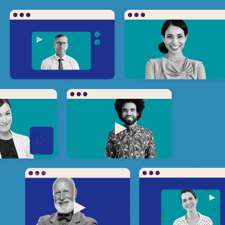 Employees conferencing in remotely across the globe