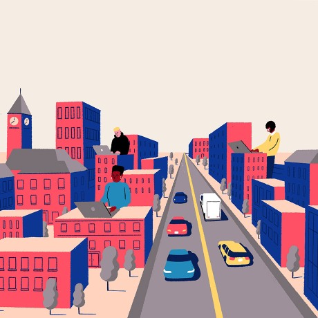 An illustration of a city, depicting building a distance learning campus