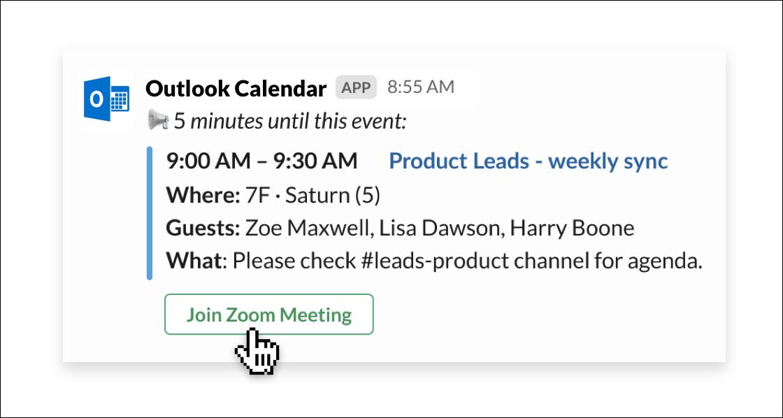Outlook Calendar app for Slack
