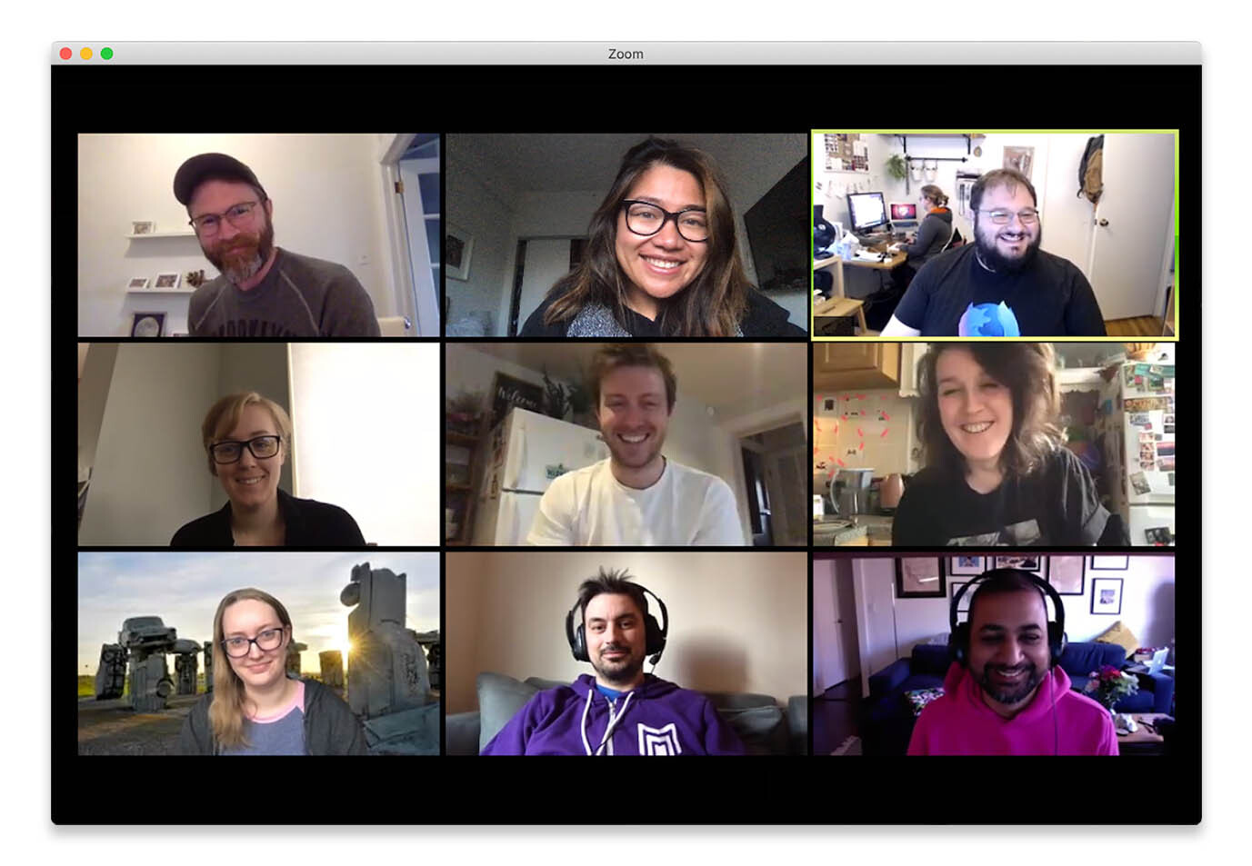 A remote meeting at Glitch takes place over Zoom