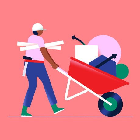 An illustration of a construction worker with a wheelbarrow of tools. A metaphor for Slack's Workflow Builder—a visual tool that allows you to customize and automate processes in Slack.
