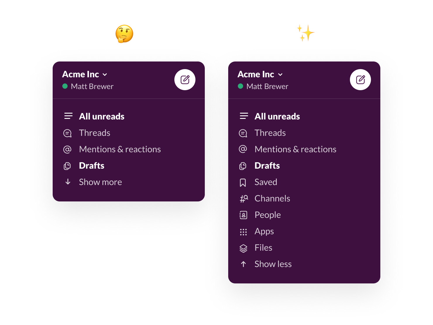 Two approaches to the collapsible sidebar design in Slack