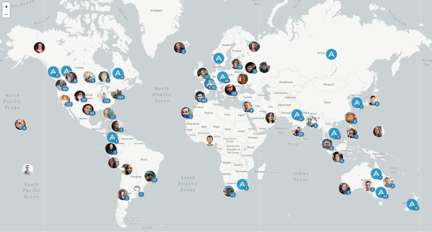 map of remote worker locations at Automattic