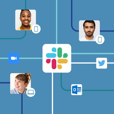 Art showing how Slack connects people and apps.