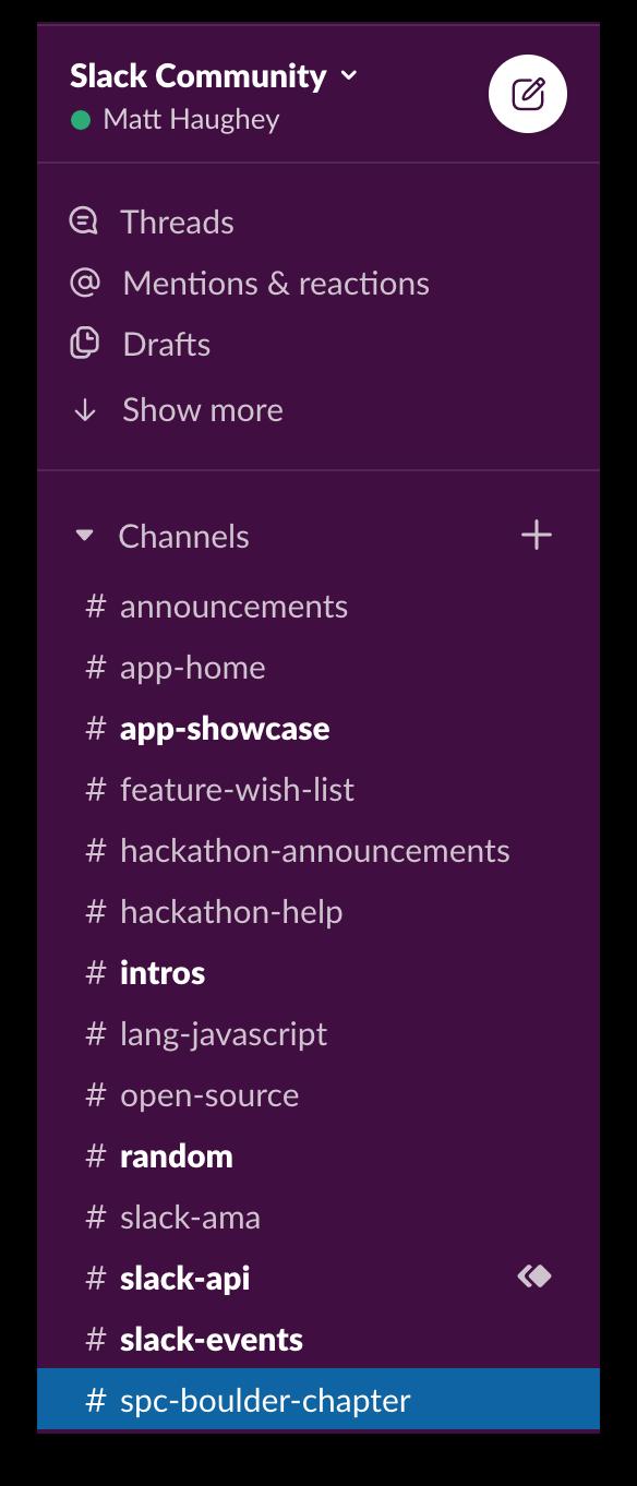 List of channels used during the Slack app hackathon