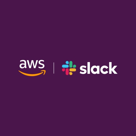 The logos of AWS and Slack Technologies Inc.