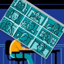 A person's head as a videoconference grid, weighed down against a blue background from exhaustion
