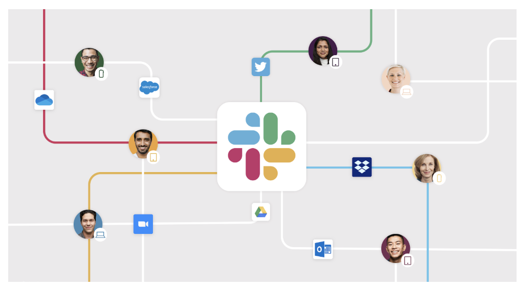 Image showing how Slack connects both people and apps in one place.