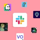 Slack logo at the center with icons of other apps in a circle around it against a pink background