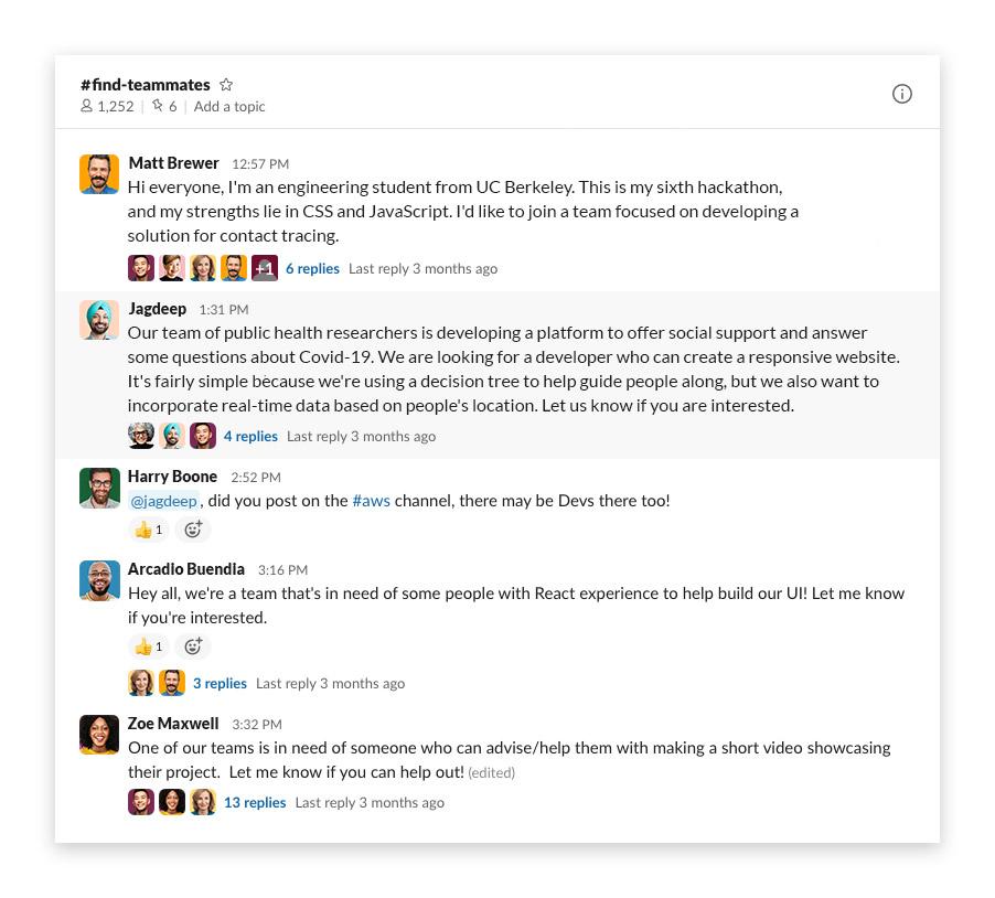 The #findteammates Slack channel from Datavant's Pandemic Response Hackathon