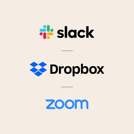 Slack, Dropbox and Zoom logos