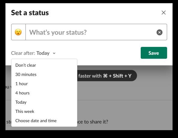 Setting a custom status in Slack