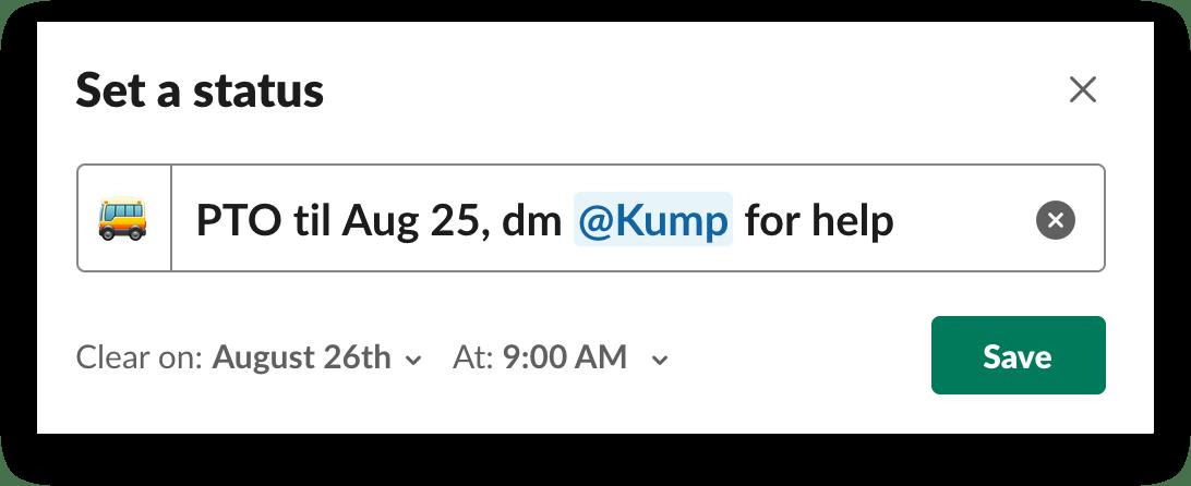 A custom status displayed in Slack