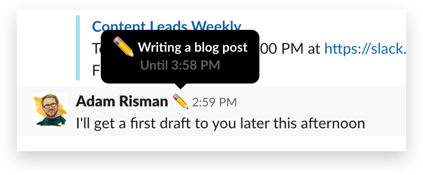 An example status in Slack